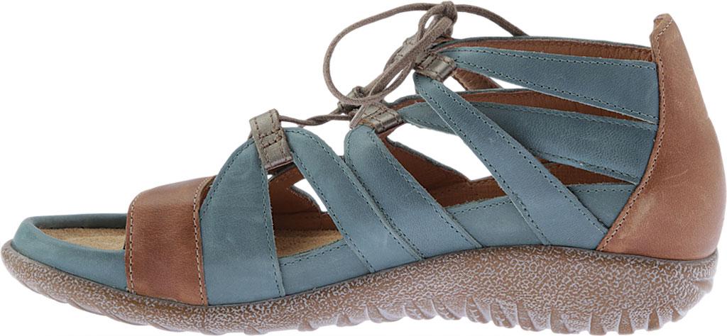 Women's Naot Selo Gladiator Sandal, Sea Green/Latte Brown/Pewter Leather, large, image 3