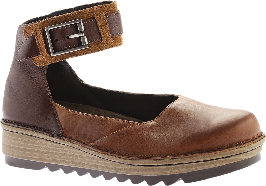 Women's Naot Sycamore Ankle Strap Flat, Brown Combo Leather/Suede, large, image 1
