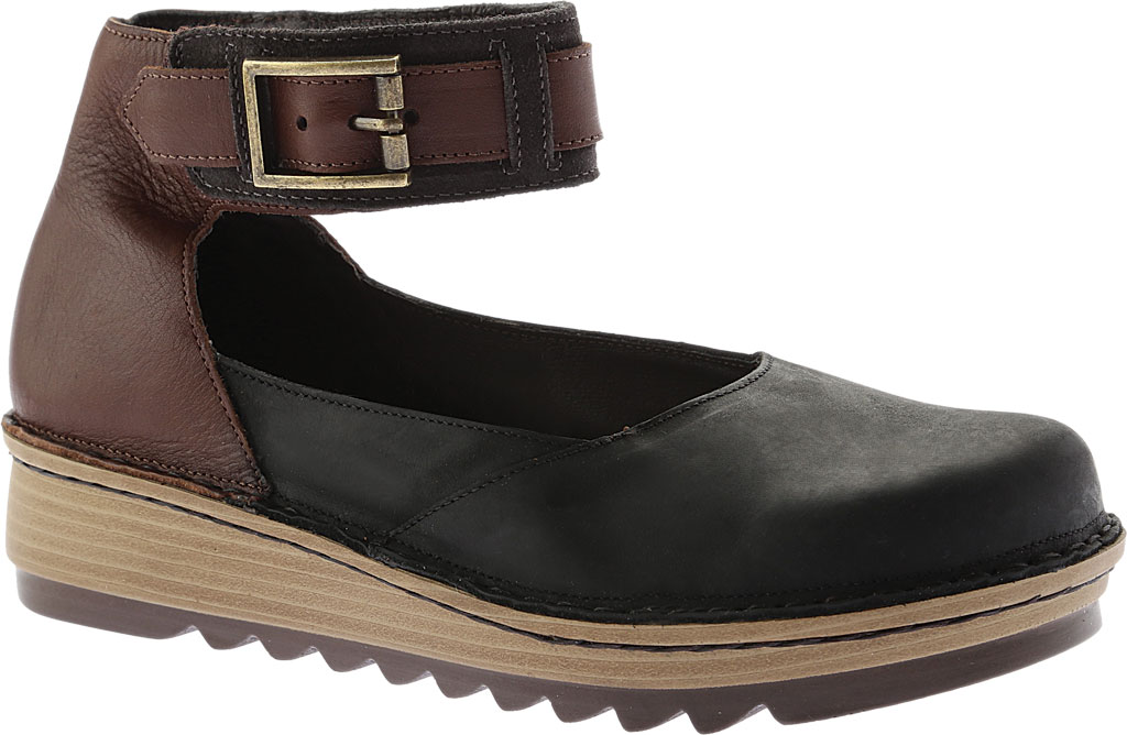 Women's Naot Sycamore Ankle Strap Flat, Black/Brown Leather/Suede, large, image 1