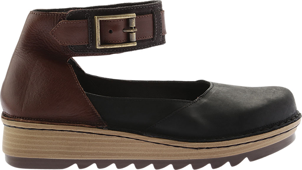 Women's Naot Sycamore Ankle Strap Flat, Black/Brown Leather/Suede, large, image 2