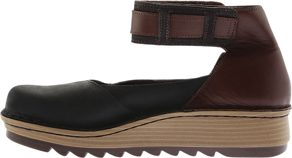 Women's Naot Sycamore Ankle Strap Flat, Black/Brown Leather/Suede, large, image 3
