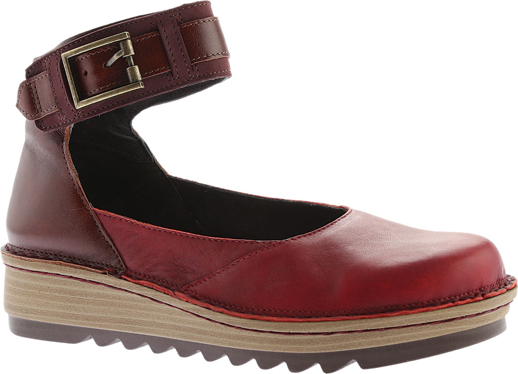 Women's Naot Sycamore Ankle Strap Flat, Berry/Brown Nubuck/Leather, large, image 1