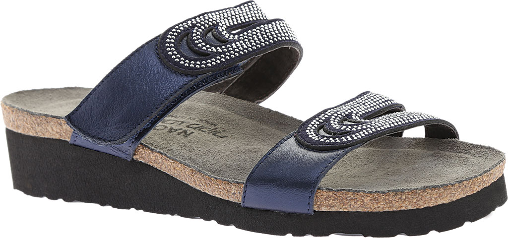 Women's Naot Ainsley Slide, Polar Sea Leather/Dark Blue with Nickel Rivets, large, image 1