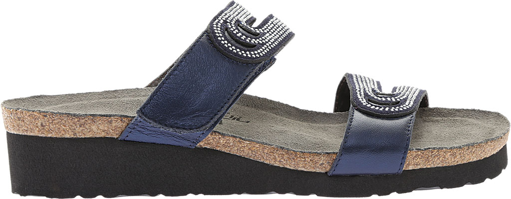 Women's Naot Ainsley Slide, Polar Sea Leather/Dark Blue with Nickel Rivets, large, image 2