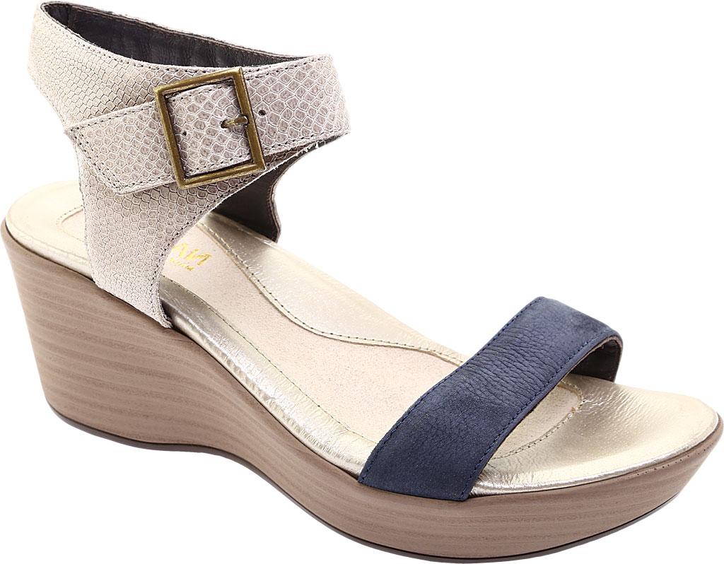 Women's Naot Caprice Wedge Sandal, Beige Liz Leather/Navy Velvet/Nubuck Leather, large, image 1
