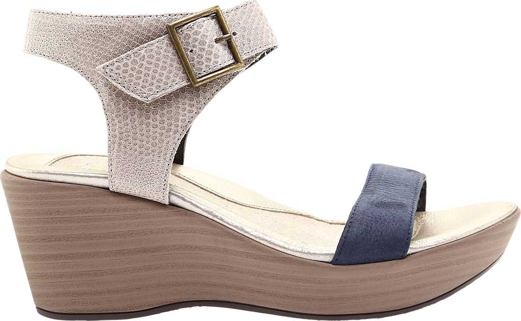 Women's Naot Caprice Wedge Sandal, Beige Liz Leather/Navy Velvet/Nubuck Leather, large, image 2