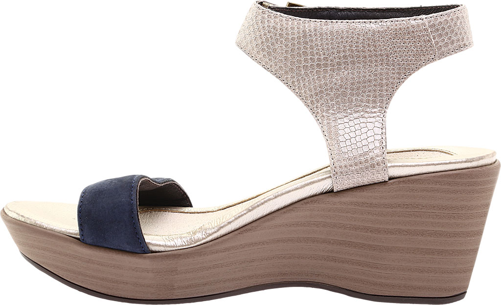 Women's Naot Caprice Wedge Sandal, Beige Liz Leather/Navy Velvet/Nubuck Leather, large, image 3