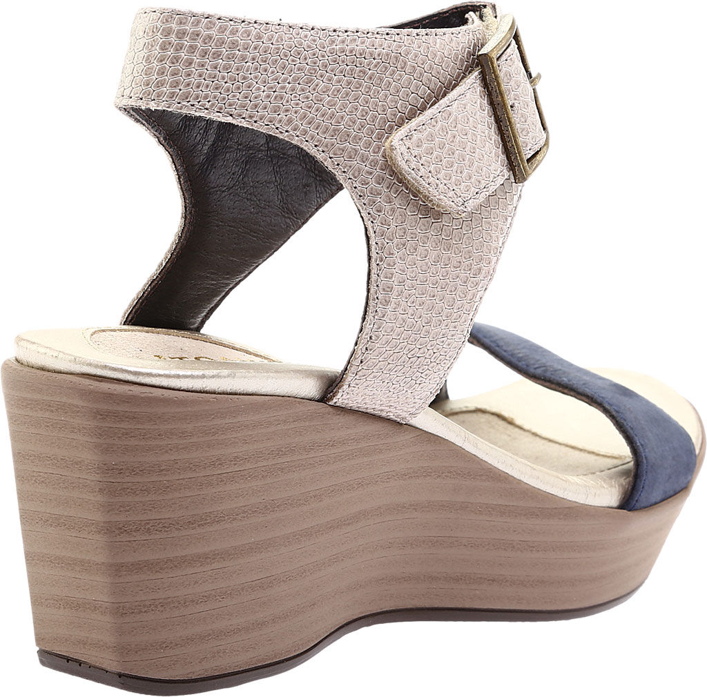 Women's Naot Caprice Wedge Sandal, Beige Liz Leather/Navy Velvet/Nubuck Leather, large, image 4