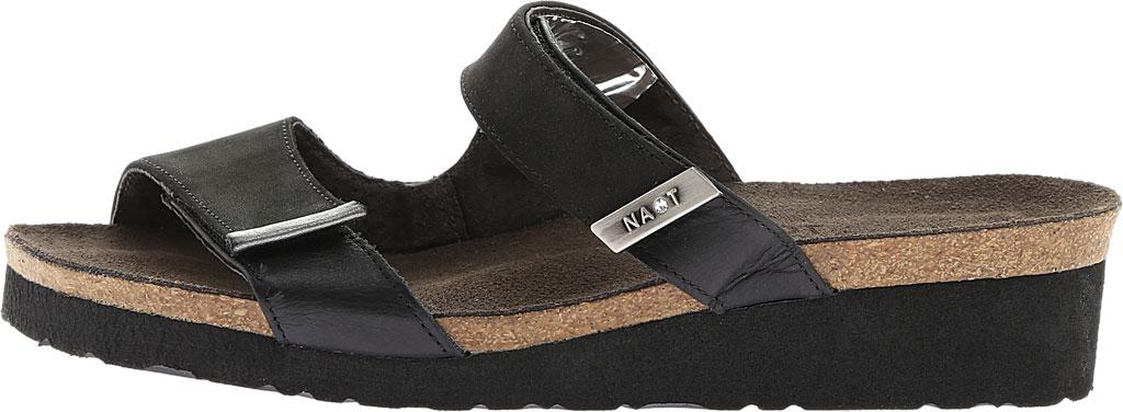 Women's Naot Jacey Slide, Black Velvet Nubuck/Black Raven/Sterling Leather, large, image 3