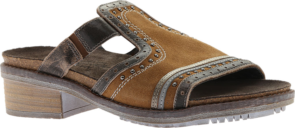 Women's Naot Nifty Slide, Desert Suede/Vintage Gray/Pewter Leather, large, image 1