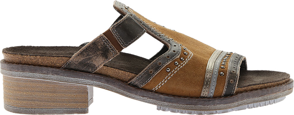 Women's Naot Nifty Slide, Desert Suede/Vintage Gray/Pewter Leather, large, image 2