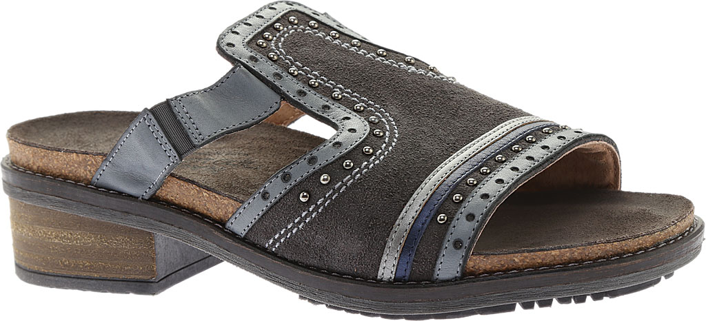 Women's Naot Nifty Slide, Oily Midnight Suede/Vintage Ash/Mirror Leather, large, image 1