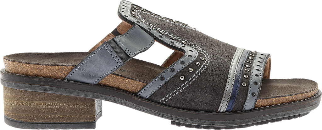 Women's Naot Nifty Slide, Oily Midnight Suede/Vintage Ash/Mirror Leather, large, image 2