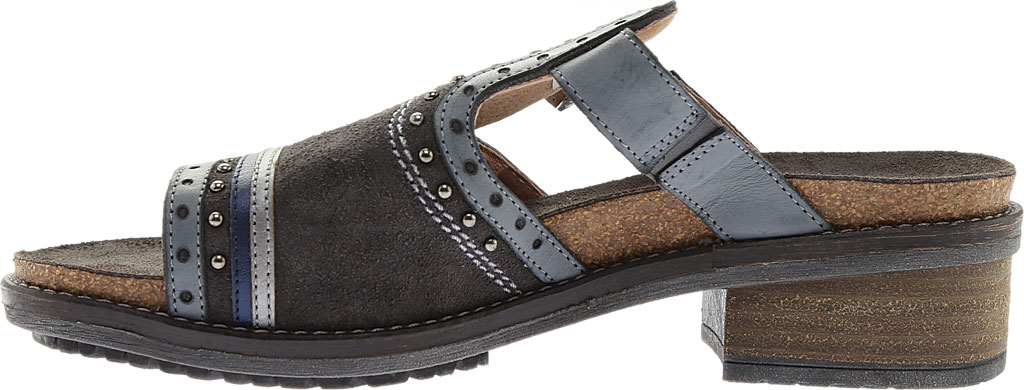 Women's Naot Nifty Slide, Oily Midnight Suede/Vintage Ash/Mirror Leather, large, image 3