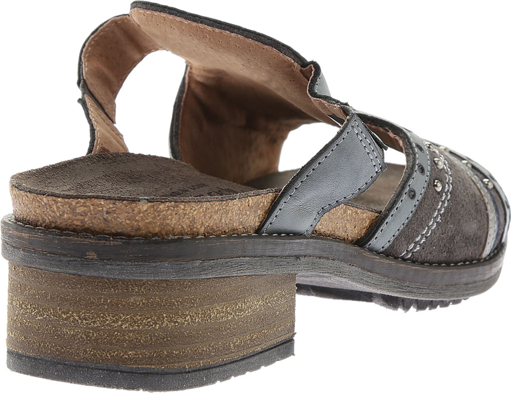 Women's Naot Nifty Slide, Oily Midnight Suede/Vintage Ash/Mirror Leather, large, image 4