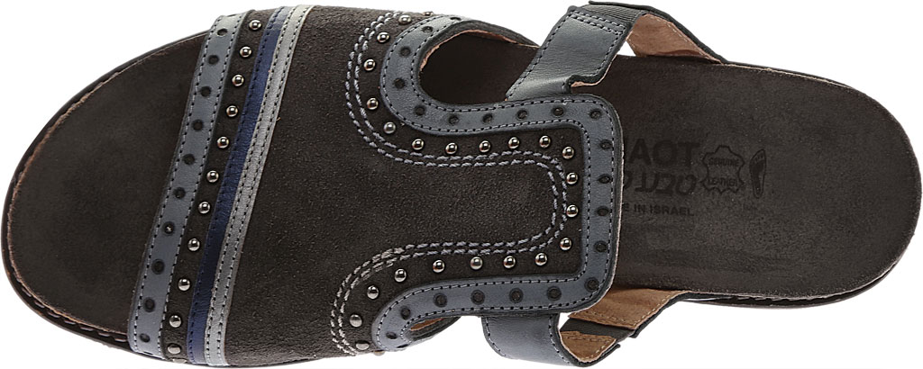 Women's Naot Nifty Slide, Oily Midnight Suede/Vintage Ash/Mirror Leather, large, image 5