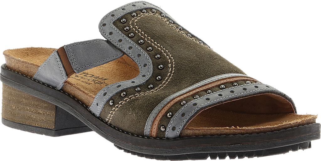Women's Naot Nifty Slide, Oily Olive Suede/Vintage Smoke/Mirror Leather, large, image 1