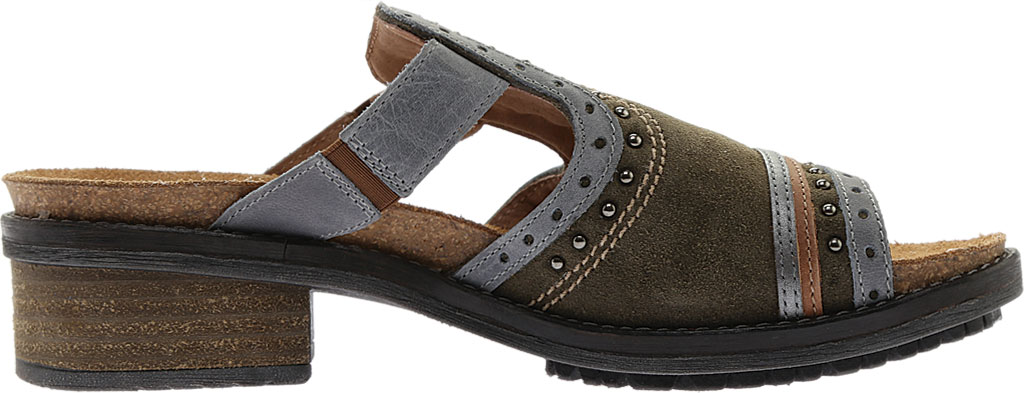 Women's Naot Nifty Slide, Oily Olive Suede/Vintage Smoke/Mirror Leather, large, image 2