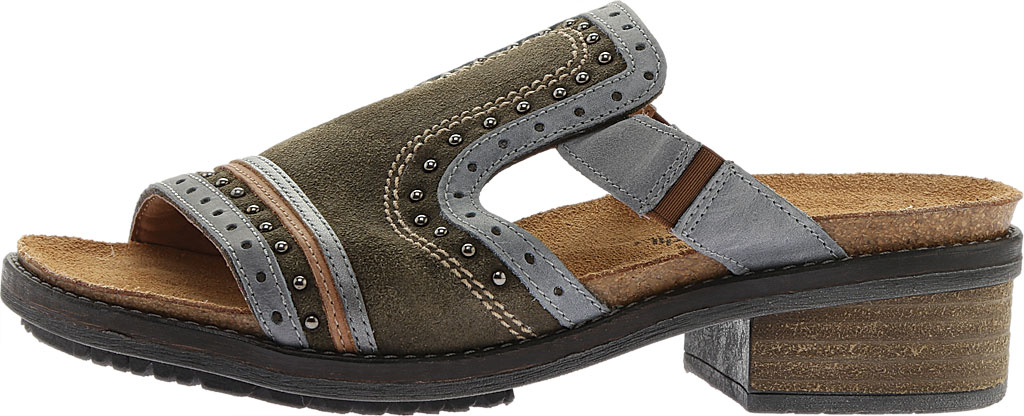 Women's Naot Nifty Slide, Oily Olive Suede/Vintage Smoke/Mirror Leather, large, image 3