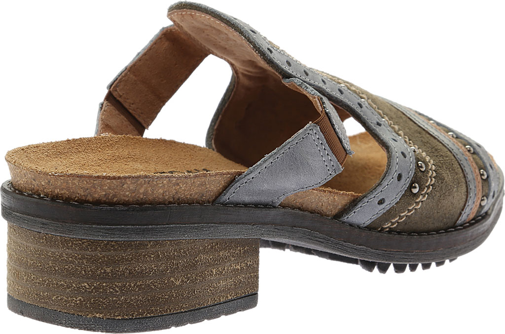 Women's Naot Nifty Slide, Oily Olive Suede/Vintage Smoke/Mirror Leather, large, image 4