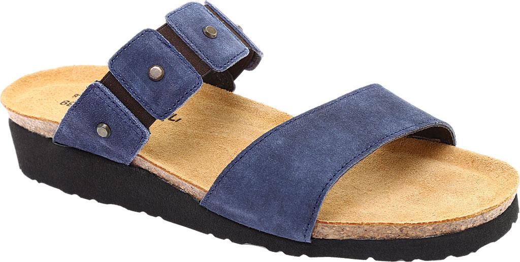 Women's Naot Scarlett Slide Sandal, Midnight Blue Suede, large, image 1