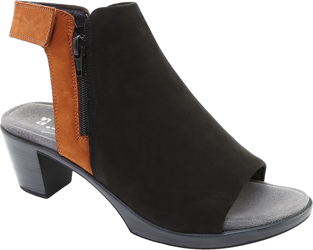 Women's Naot Favorite Peep Toe Bootie, Black Velvet/Hawaiian Brown Nubuck, large, image 1