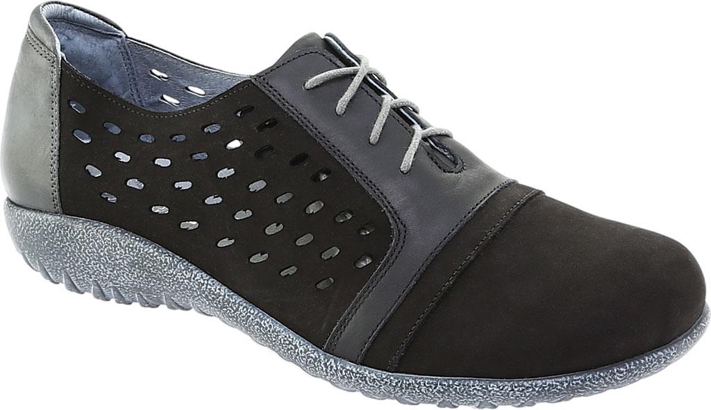 Women's Naot Lalo Sneaker, Black Velvet/Jet Black/Tin Gray Nubuck, large, image 1