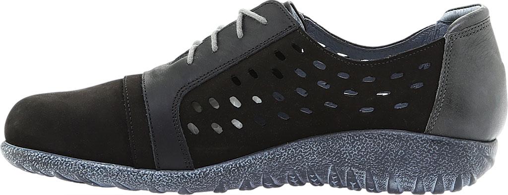 Women's Naot Lalo Sneaker, Black Velvet/Jet Black/Tin Gray Nubuck, large, image 3