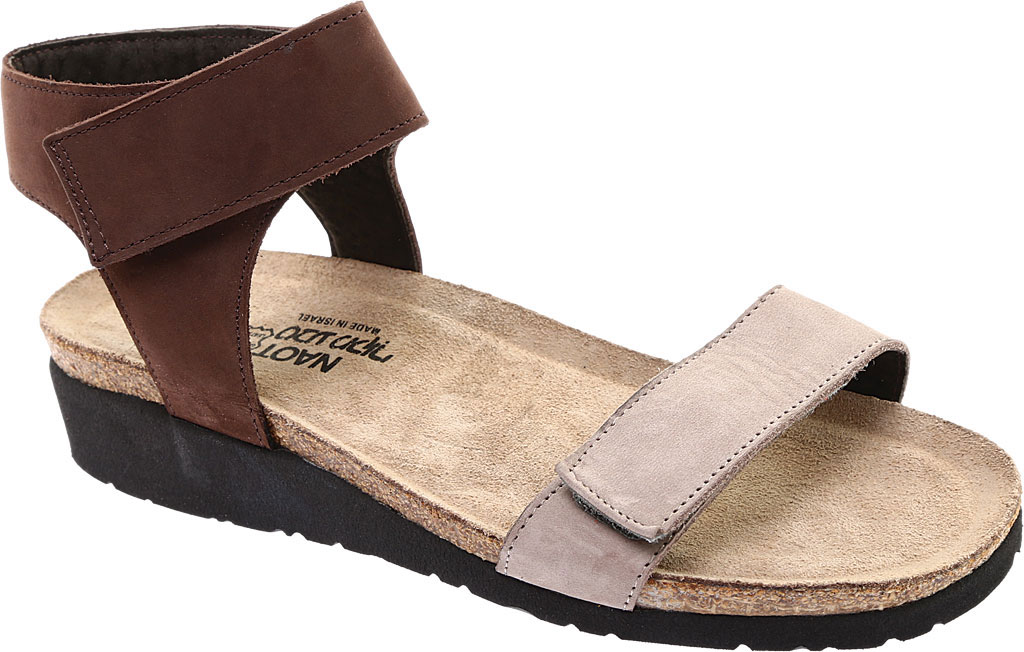 Women's Naot Alba Ankle Strap Wedge Sandal, Stone/Coffee Bean Nubuck Leather, large, image 1