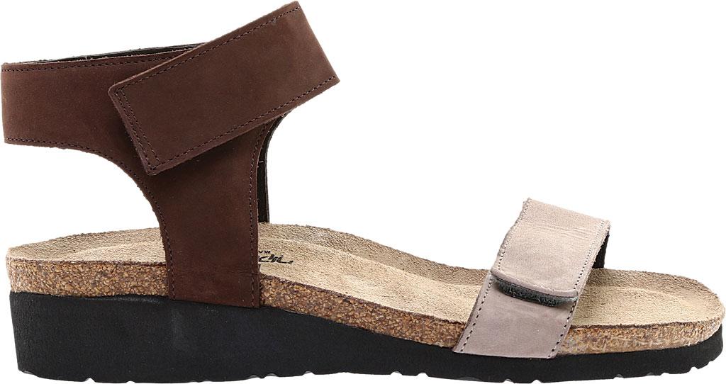 Women's Naot Alba Ankle Strap Wedge Sandal, Stone/Coffee Bean Nubuck Leather, large, image 2