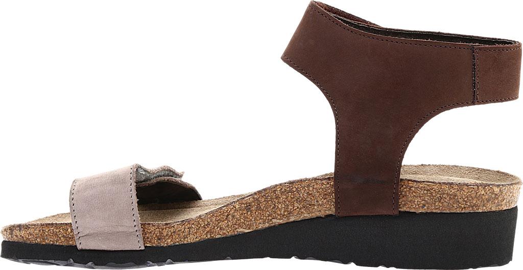 Women's Naot Alba Ankle Strap Wedge Sandal, Stone/Coffee Bean Nubuck Leather, large, image 3