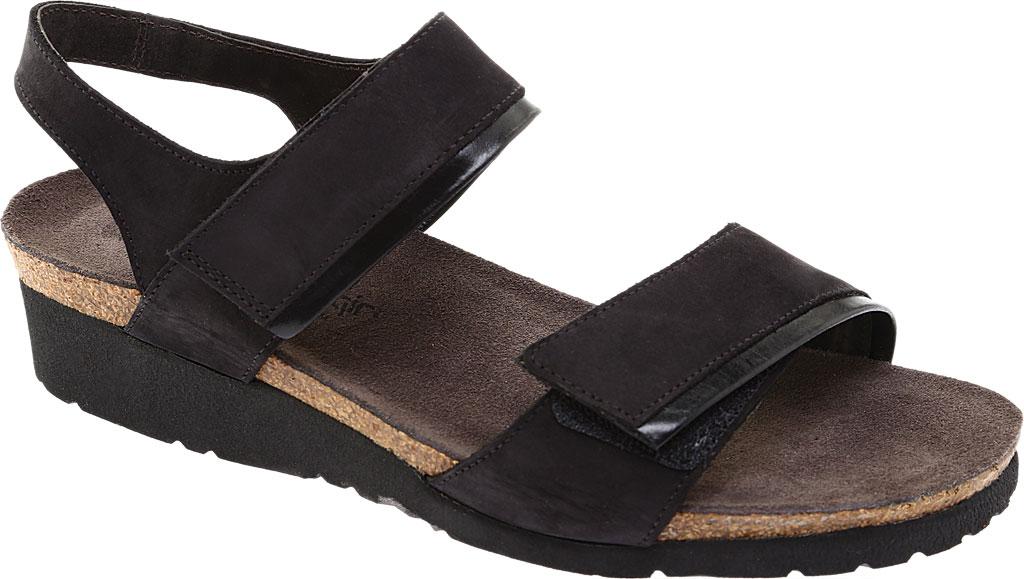 Women's Naot Aisha Ankle Strap Wedge Sandal, Black Velvet/Nubuck Leather/Black Madras, large, image 1