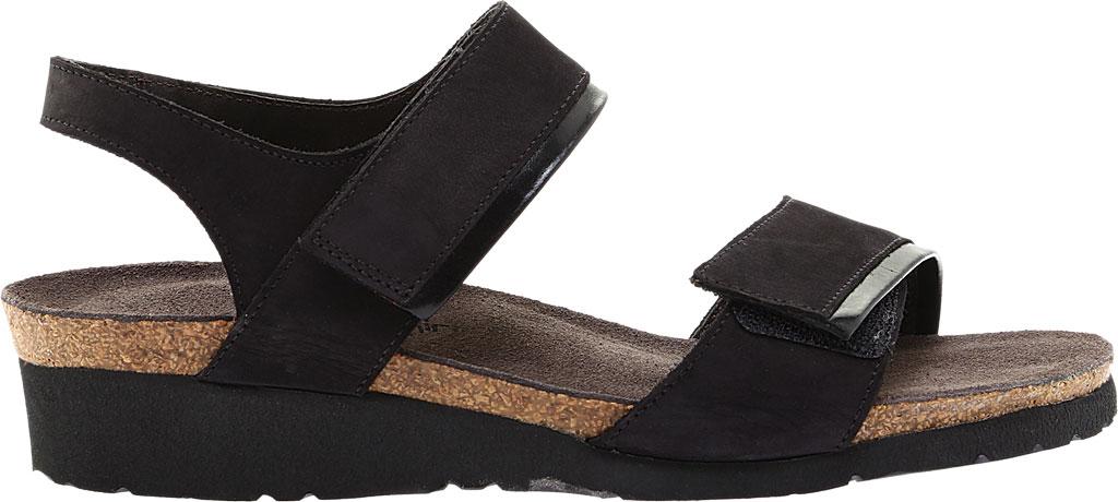 Women's Naot Aisha Ankle Strap Wedge Sandal, Black Velvet/Nubuck Leather/Black Madras, large, image 2