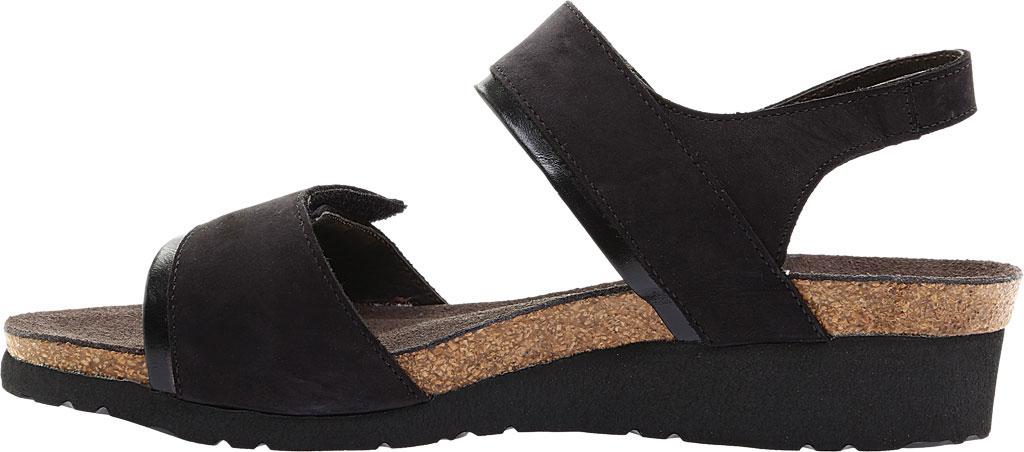 Women's Naot Aisha Ankle Strap Wedge Sandal, Black Velvet/Nubuck Leather/Black Madras, large, image 3