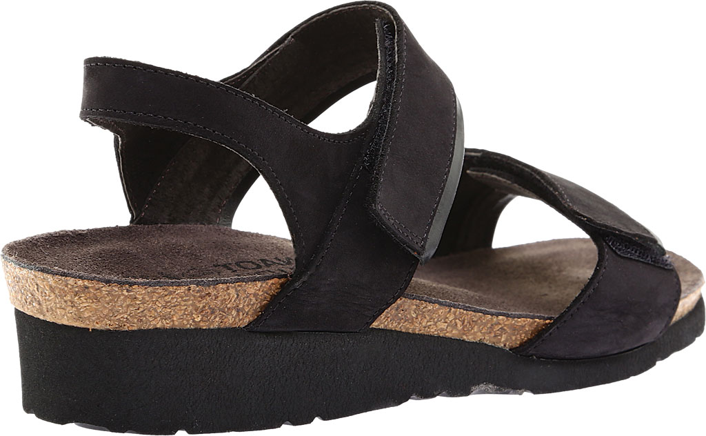 Women's Naot Aisha Ankle Strap Wedge Sandal, Black Velvet/Nubuck Leather/Black Madras, large, image 4