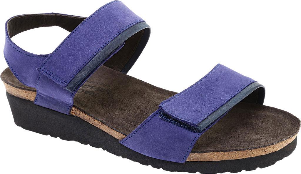 Women's Naot Aisha Ankle Strap Wedge Sandal, Indigo Nubuck Leather/Ink Leather, large, image 1