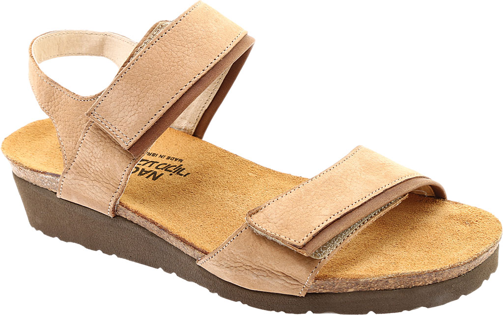 Women's Naot Aisha Ankle Strap Wedge Sandal, Nude Nubuck Leather/Saddle Brown Leather, large, image 1