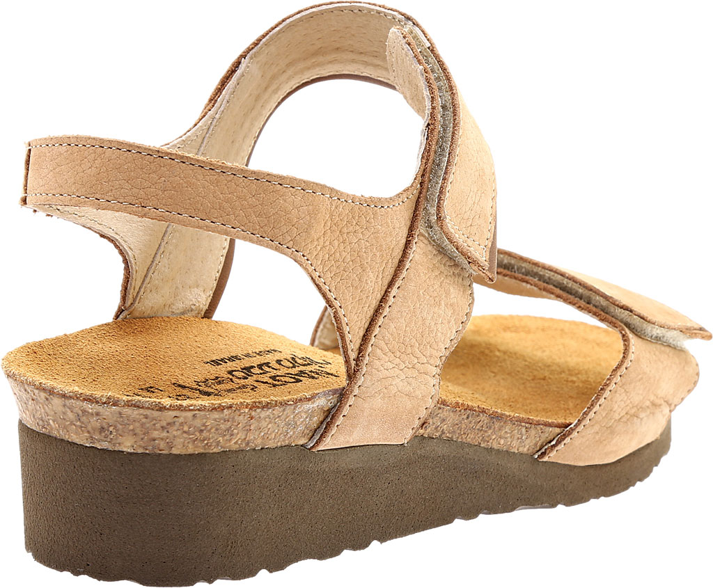 Women's Naot Aisha Ankle Strap Wedge Sandal, Nude Nubuck Leather/Saddle Brown Leather, large, image 4