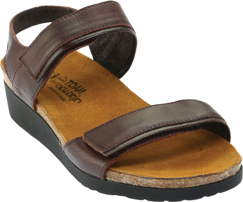 Women's Naot Aisha Ankle Strap Wedge Sandal, Soft Brown Leather/Walnut Leather, large, image 1