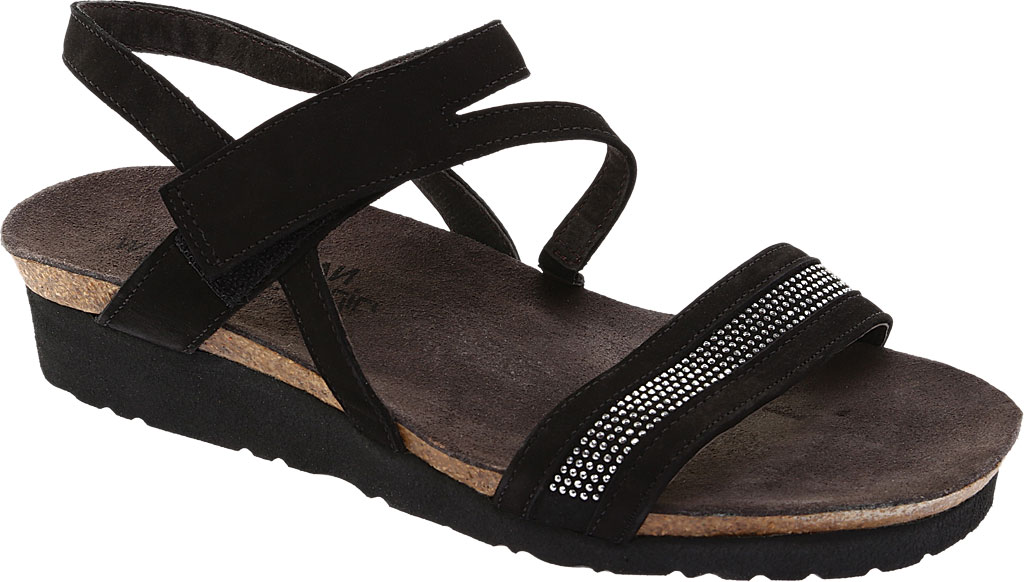 Women's Naot Cameron Slingback Wedge Sandal, Black Velvet, large, image 1