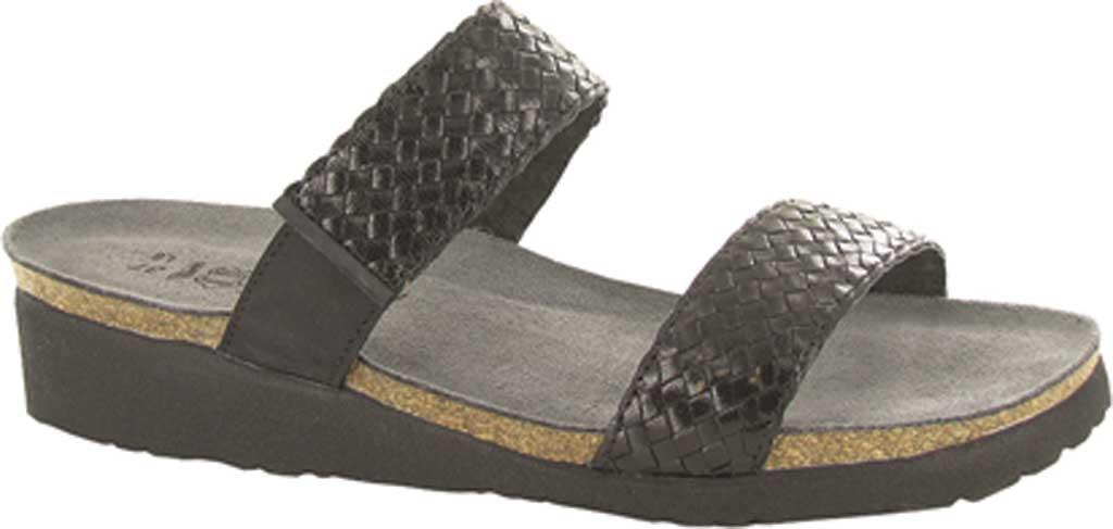 Women's Naot Blake Slide Sandal, Black Velvet/Nubuck Leather/Black, large, image 1