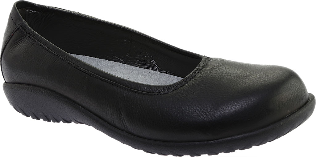 Women's Naot Taupo Ballet Flat, Soft Black Leather, large, image 1