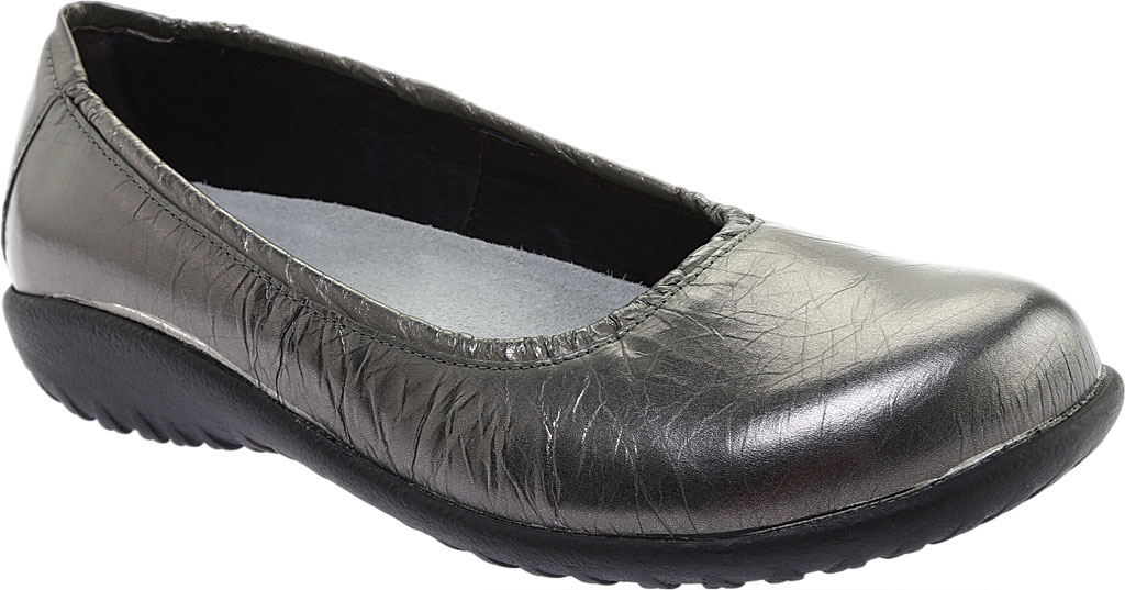 Women's Naot Taupo Ballet Flat, Crinkle Steel Leather, large, image 1