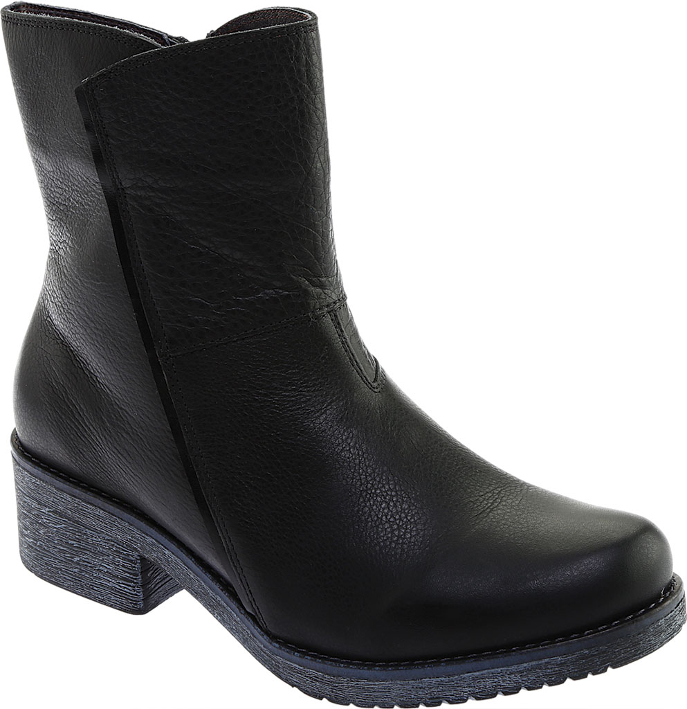 Women's Naot Hipster Ankle Boot, Soft Black Leather/Black Madras, large, image 1