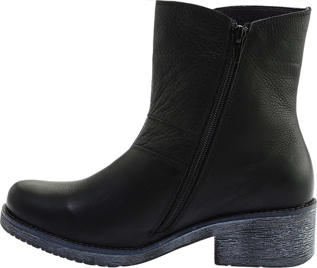 Women's Naot Hipster Ankle Boot, Soft Black Leather/Black Madras, large, image 3
