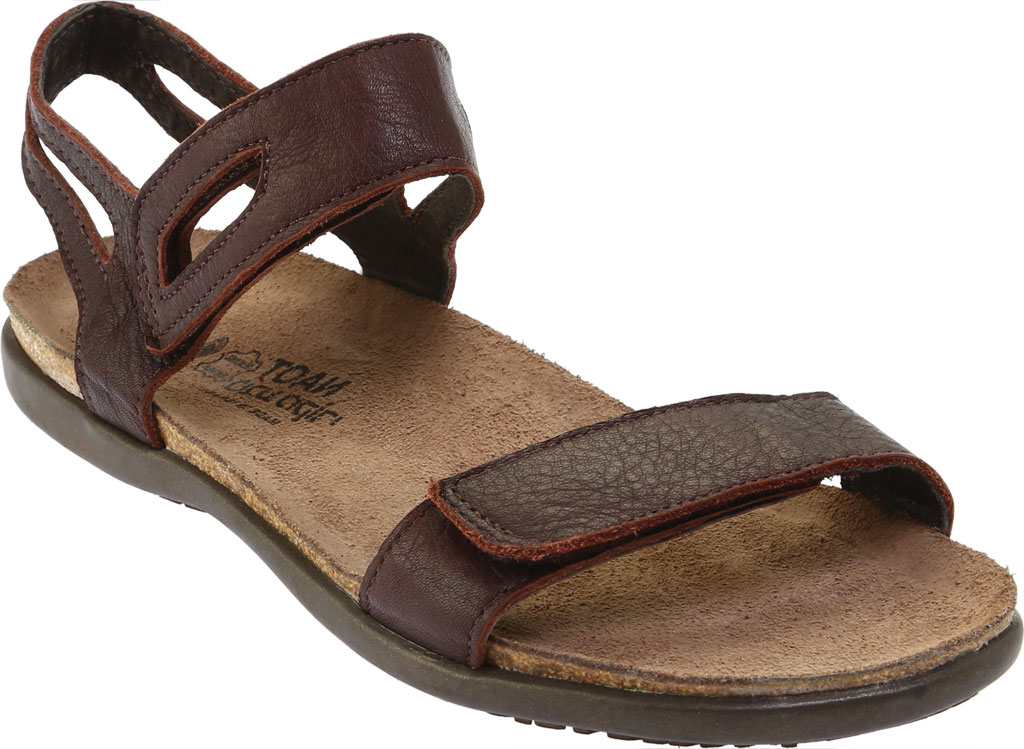 Women's Naot Courtney Hook and Loop Sandal, Soft Brown Leather, large, image 1