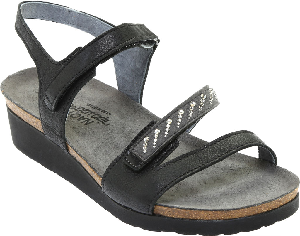 Women's Naot Kendall Strappy Wedge Sandal, Soft Black Leather/Black Madras Leather, large, image 1