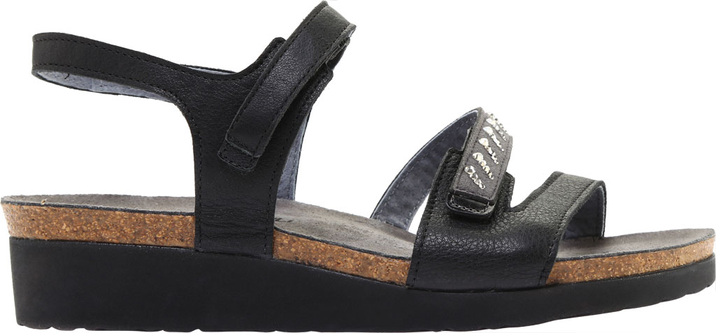 Women's Naot Kendall Strappy Wedge Sandal, Soft Black Leather/Black Madras Leather, large, image 2