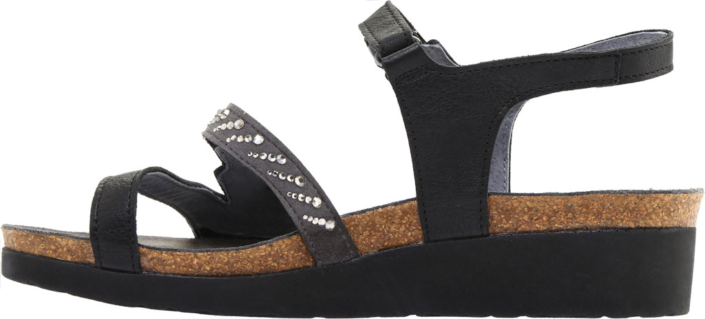 Women's Naot Kendall Strappy Wedge Sandal, Soft Black Leather/Black Madras Leather, large, image 3