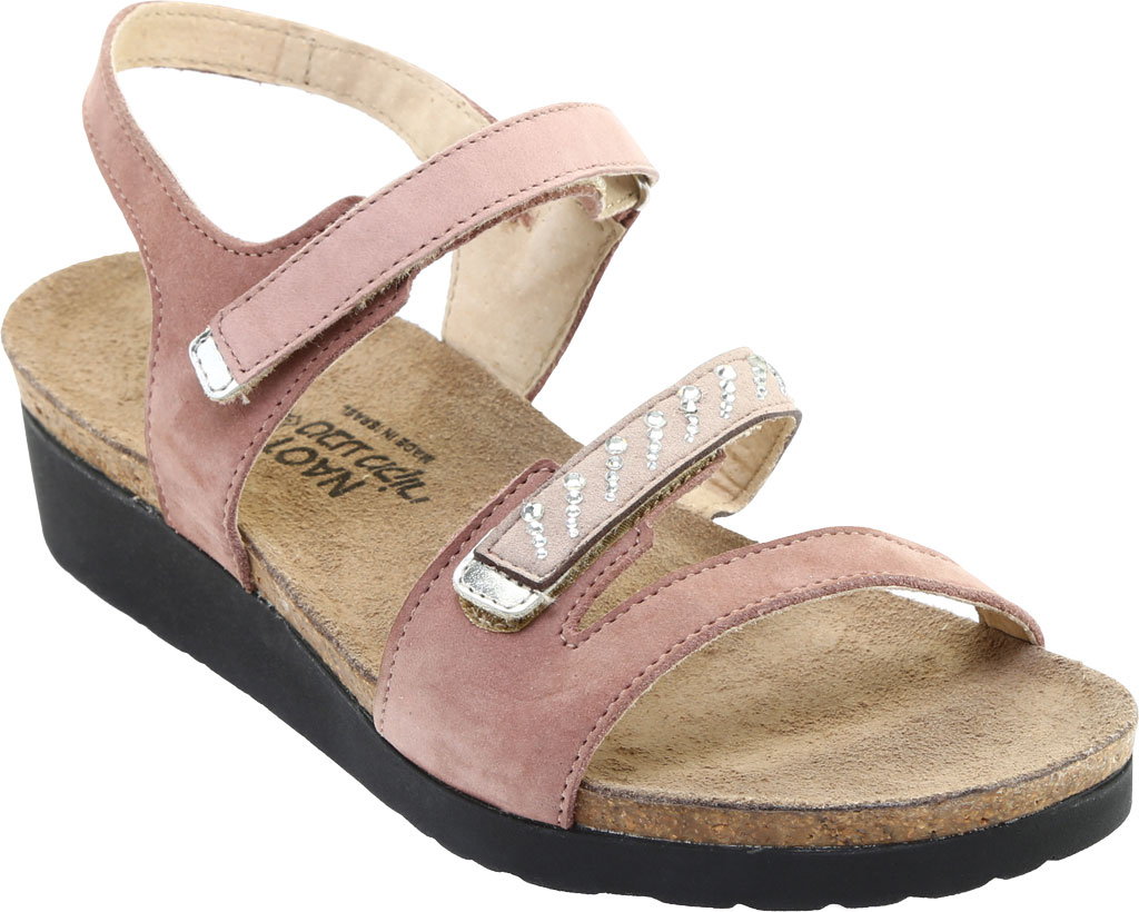 Women's Naot Kendall Strappy Wedge Sandal, Mauve Nubuck/Silver Mirror Leather, large, image 1